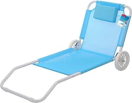 Storepoint Pro Beach Chaise Longue De Plage Pliable 2 Roues Bain De Soleil Azur L 150 X P 40 X H 80 Cm Amazon Fr Jardin