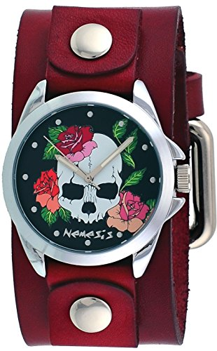 Nemesis #GBR933K Women's Skull and Roses Red Junior Wide Leather Cuff Band ()