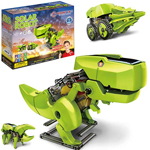 Wishky STEM Toys 3-in-1 Solar Robots for Kids -Dinosaur Toys for Kids 8-12, Robot Dinosaur Kit, Young Engineer Building Toys, Gifts for Boys & Girls, Aged 8 9 10 11 12 and Up, Solar Powered by The Sun
