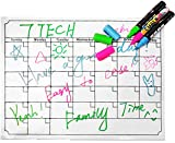 "7TECH Magnetic Calendar Board Dry Erase Calendar Monthly Fridge Calendar Board for Refrigerator, Kitchen Planning Board, Easy to Write&Erase, Strong Magnet, 16""x12"", White"