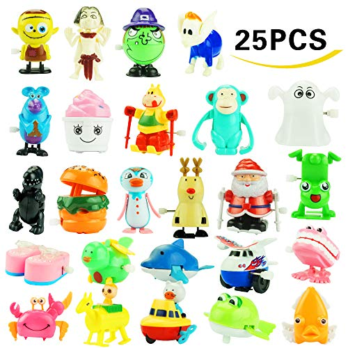 Wind up Toys, 25 Pack Assorted Mini Toy for Kids Party Favors, Birthday Goody Bag Filler Preschool Toy for Boys Girls Children,Gifts Giveaway Pinata Filler Carniva Prizes Classroom Incentive Reward by Kissdream