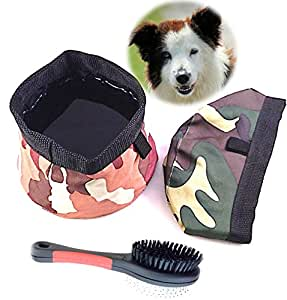 Special Offer Genie Best Pet Travel Bowl Collapsible Premium Nylon For Every Dog Parent. 3-in-1 Food Water Bowls Water Proof and Treat Bag