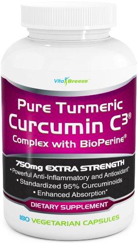 Curcuma curcumine complexe C3 avec BioPerine - 750mg par capsule, 180 Veg. Casquettes - Contient poivre noir (pour l'absorption supérieure et Bio-disponibilité). 95% normalisés Curcuminoïdes pour la puissance maximale