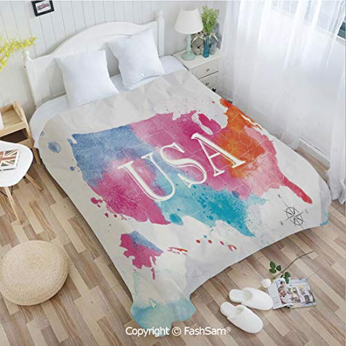 PUTIEN 3D Print Flannel Blanket Watercolor Style American Map with Paintbrush Hazy Tone Effects Geography Artwork Lightweight for Adults(39Wx49L)