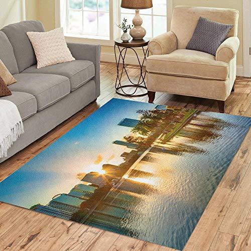Pinbeam Area Rug Skyline Sunset at Orlando Florida Lake Downtown EOLA Home Decor Floor Rug 5' x 7' Carpet -