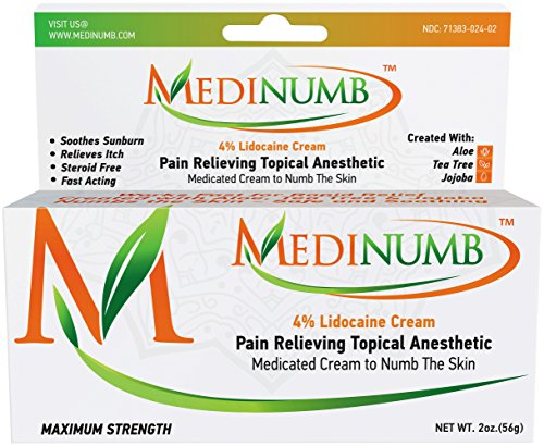 (Medinumb Lidocaine Numbing Cream (2oz/56g) Topical Anesthetic Pain Relief - Waxing, Laser, Electrolysis & Tattoos - Soothing Aloe, Jojoba, Tea Tree - USA)