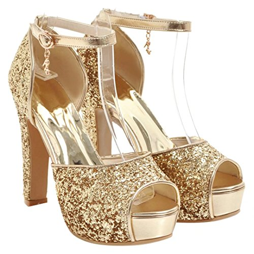 AIYOUMEI Damen Peep Toe High Heels Glitzer Sandalen mit Knöchelriemchen Blockabsatz Plateau Sommer Schuhe Gold