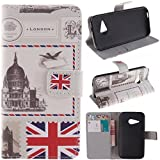 M8 mini Case HTC One Remix wallet Flip Case, HTC One M8 Mini Kickstand Case,Tribe-Tiger Stylish Dandelion Witness Love Series Wallet PU Leather Flip Cover Case,[Stand Built-In Card Slots Feature] Flip Folio Case Cover for for HTC One Remix(UK Flag)