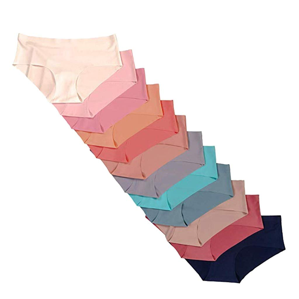 Women's Cut Underwear 12 Pack Assorted Colors Underpant Silky Nighty