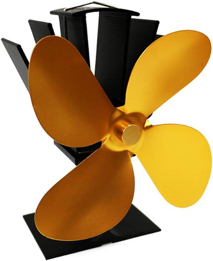 Ventilador De Chimenea Ventilador De La Estufa De Calefacción Ventilador De Chimenea De Quemador Decoración De La Chimenea Circula Mejorando La Convección Del Aire Interior,Gold