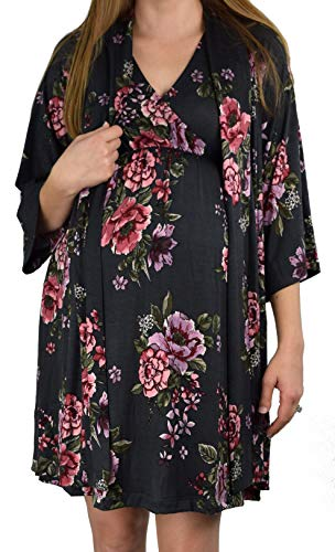 Sets Robe Nightgown - Embrace Your Bump 2 in 1 Super Soft Maternity & Nursing Nightgown & Robe Set (Charcoal Floral, Medium)