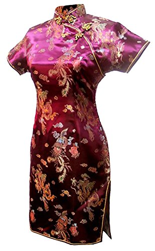 (7Fairy Women's VTG Burgundy Dragon Mini Chinese Party Dress Cheongsam Size 10 US)