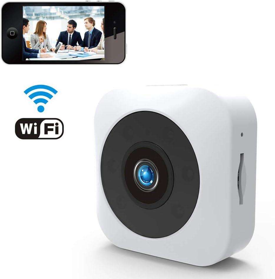 DINGYUFA Cámara WiFi portátil con visión Nocturna por Infrarrojos Monitoreo Remoto Detección de Movimiento Cámara de Alarma Interior, para Mascotas Apartamento