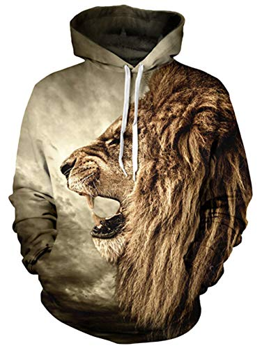 TUONROAD Unisex Digital Animal Print Hooded Pullover Khaki Roaring Hairy Lion with Sharp Teeth 3D Cool Carton Hoodies Plus Size Athletic Tops Sweatshirt with Kangaroo Pockets