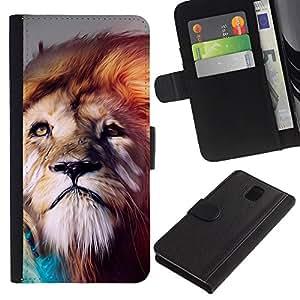 Billetera de Cuero Caso Titular de la tarjeta Carcasa Funda para Samsung Galaxy Note 3 III N9000 N9002 N9005 / Lion abstract Majestic Cat / STRONG