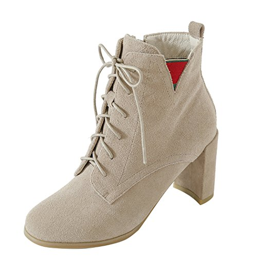 corto Naked zapatos Tacones amp;X de Martin botas QIN La cabeza Talón Color de mujer bloque redonda 60Owq