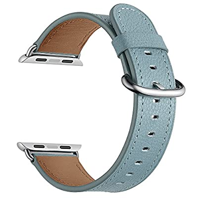 LoveBlue For Apple Watch Series 3/Series 2/Series 1 Band,Single Tour Apple Watch Leather Band, Genuine Leather Band Bracelet Wrist Watch Band for Apple Iwatch Series 3 (38mm-Blue)