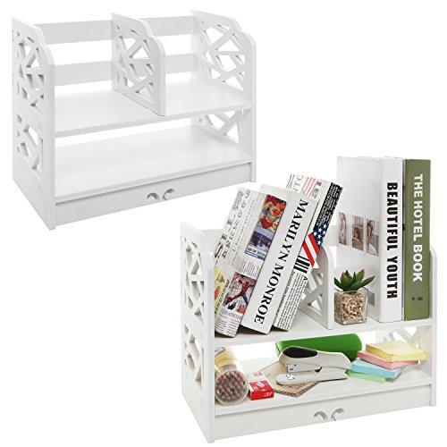 Set of 2 White Decorative Freestanding Book Shelf, 2 Tier Stand Alone Desk Organizer Decor Shelves