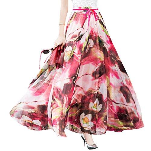 Femme Floral Jupe Longue Maxi Taille Haute en Mousseline de Soie Jupes Bohmienne 13rouge