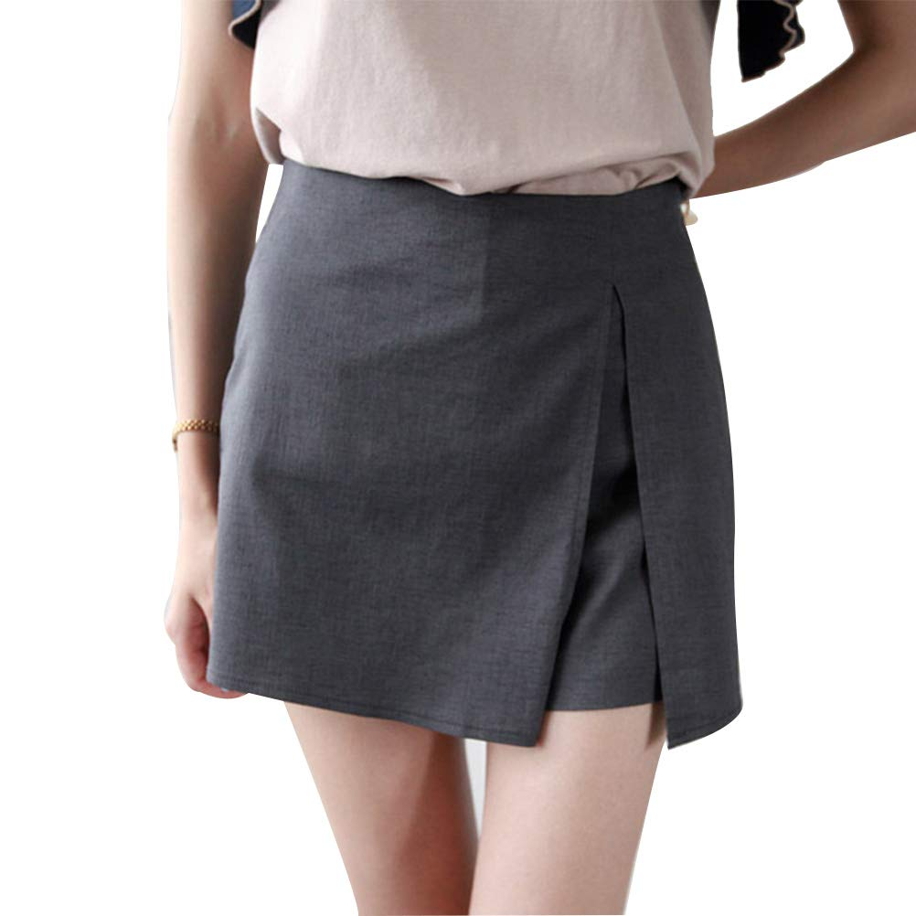 a18a59014 CrazyTiger Women's Slim High Waist Short Asymetric Hem Split Wrap A-Line  Pencil Mini Skirt Women Clothing at Amazon Women's Clothing store:
