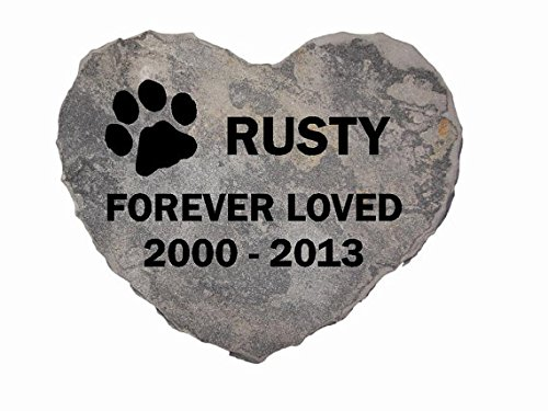 GraphicRocks - Pet Memorial Headstone Grave Marker Sandblast Engraved Grey Stone 12'' Heart with Chiseled Edge Personalized with the Name and Date of Your Dog or Cat by GraphicRocks
