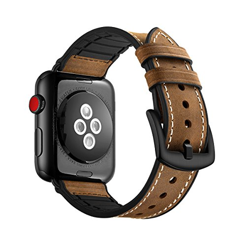 WOLLPO Apple Watch Band, Vintage Leather Replacement Bands Stylish Straps with Stainless Metal Buckle Clasp for Apple Watch Series 3 Series 2 Series 1 Sport and Edition (Hybrid Leather 38mm/40mm)