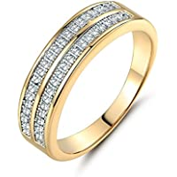 Promsup Women Pave Cubic Zirconia 18K Gold Platinum Filled Couple Wedding Band Rings (9)