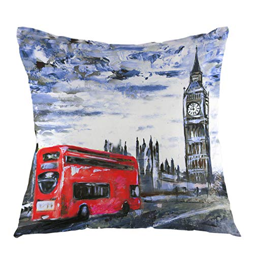"oFloral London View Throw Pillow Cover Oil Painting Bus Big Ben Square Cushion Case Home Decorative for Sofa Couch Car Bedroom Living Room Decor 18"" x 18"" inch Black Blue Red"