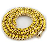 14K Gold Plated Canary 1 Row Iced Out Tennis Necklace, 36 Inches