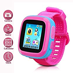 LTAIN Kids Game Smartwatch Digital Smart Watches Photo Sticker Camera Mini Games Alarm Clock Timer Health Monitor Pedometer Birthday Gifts for Boys and Girls Age 3-12 Years(Pink)
