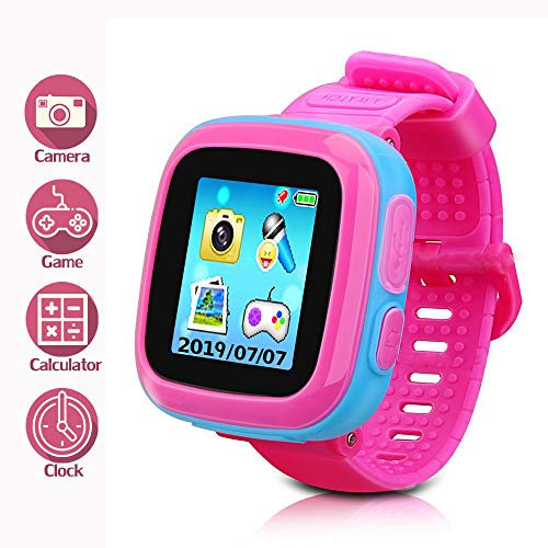 DUIWOIM Kids Game Smartwatch Digital Smart Watches Photo Sticker Camera Mini Games Alarm Clock Timer Health Monitor Pedometer Birthday Gifts for Boys and Girls Age 3-12 Years(Pink Joint Blue)