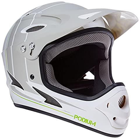 Demon Podium Full Face Mountain Bike Helmet (White, M) - White Full Face Helmet