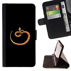 - orange black minimalist snake nature - - Prima caja de la PU billetera de cuero con ranuras para tarjetas, efectivo desmontable correa para l Funny HouseFOR Apple Iphone 6