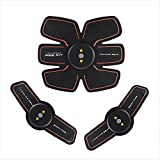 Pawaca Abdominal Muscle Toner USB Rechargeable, Portable Wireless EMS Abs Trainer Fitness Slimming Belt Massager Pad Body Sculptor Muscle Training Gear Fat Burner