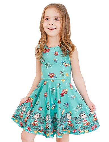 LaBeca Girls Party Casual Printed Twirly Sleeveless Dress