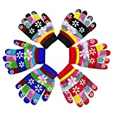 3 Pairs Kids Boys Girls Warm Winter Knitted Gloves Colored Snowflake Striped Mittens