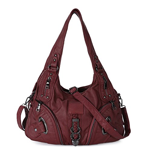 Women Soft Leather Handbag Large Capacity Crossbody Shoulder Bag for Ladies Convertible Hobo Purse Burgandy by Genold
