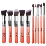 ACEVIVI Professional 10pcs Premium Synthetic Kabuki Makeup Brush Set Foundation Blending Cosmetic Brushes Essential Kit Pink + Silver