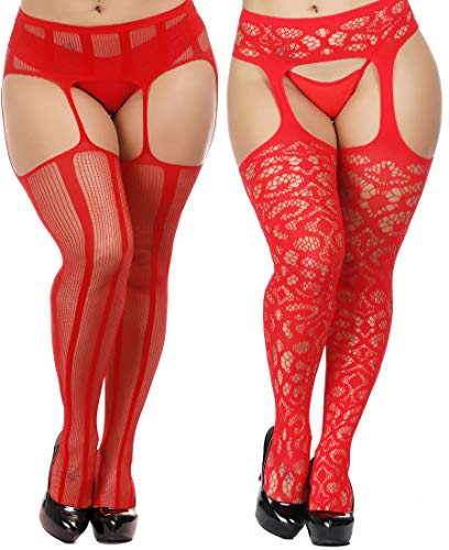 0ed1f461e599df TGD Womens Plus Size Stockings Suspender Pantyhose Fishnet Tights Fashion  Thigh High Stocking 2 Pairs (