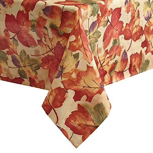 Newbridge Autumn Leaf Collage Contemporary Thanksgiving and Fall Season Fabric Tablecloth, Impressionist Fall Leaves Soil Resistant, No Iron Easy Care Tablecloth, 60 Inch x 84 Inch Oblong/Rectangle