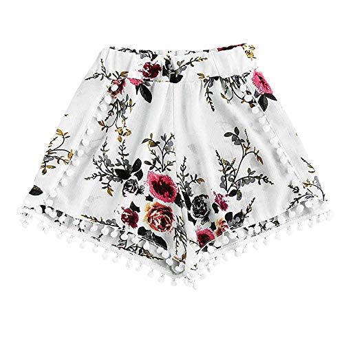wodceeke Women Summer Shorts Pants, Elastic High Waisted Rose Tassel Ball Print Lace Pants Beach Short Trousers (M, White)