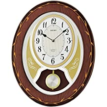 Seiko 'Melodies In Motion' Wood Wall Clock, Color:Brown (Model: QXM364BLH)