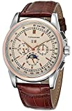 Qiyan Automatic Champagne Color Dial Men Watch With Brown Genuine Leather Band
