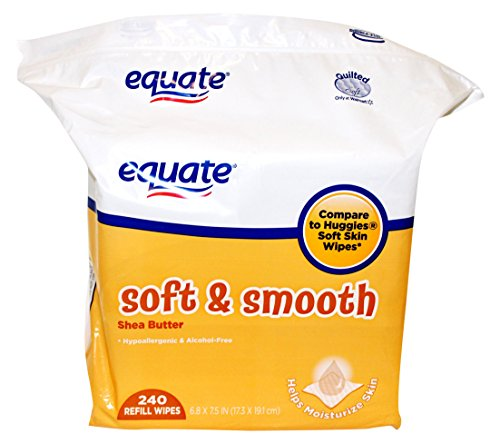 Equate EQ-SHEA240 Soft and Smooth Shea Butter Baby Wipes Refill - 240 Piece