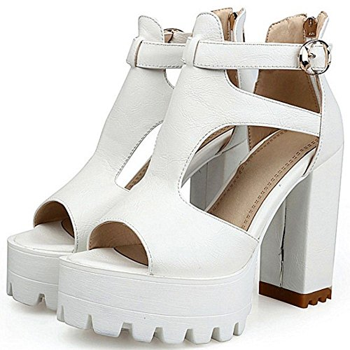 TAOFFEN Women Fashion Chunky Heel Sandals White 23mRPM5