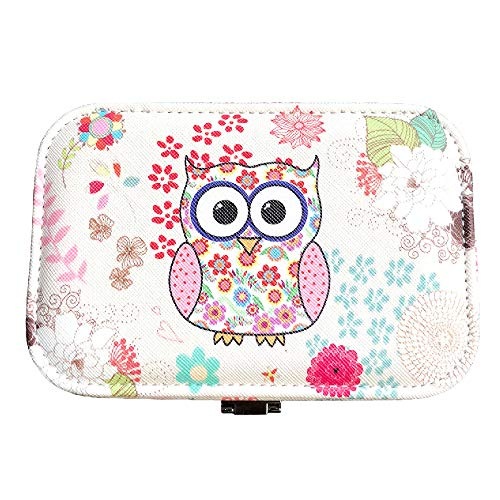 (Abbie Home Small Travel Jewelry Box with Owl Pattern Organizer for Ring Earring Necklace Bracelet (Pink)