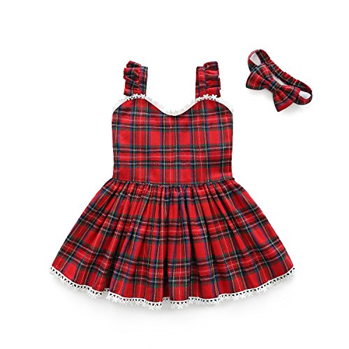 Littler Girls Preppy Style Plaid Suspender Sunny Dress Headband, Summer Party Dress Outfits (Red, 4T) ()