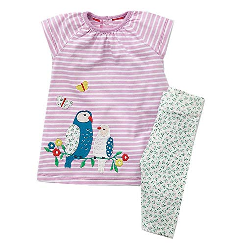 Toddler Baby Girls Clothing Set Cut Print Short Sleeve T Shirt and Pants 2pcs Outfits Pink -
