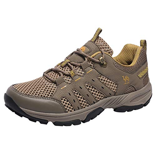CAMEL CROWN Hiking Shoes Men Women Lightweight Breathable Mesh Walking Sneakers Low Top Boots for Outdoor Walking Trekking Backpacking(Khaki,8.5 M(D) US)