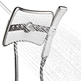 AKDY 9'' Rectangular Quad Function Rainfall Jet Shower Head & Wand Combo In Titanium Silver